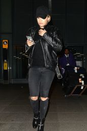 Rita Ora Travel Outfit - Heathrow Airport in London 11/22/ 2016