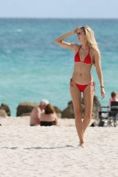 Xenia Micsanschi in Red Bikini - Miami Beach 11/22/ 2016