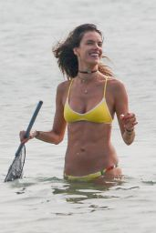 Alessandra Ambrosio in a Yellow Bikini at Beach in Santa Catarina, Brazil 12/30/ 2016