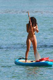 Alexandra Rodriguez - Paddle Boards in a Beige Colored Bikini in Miami 12/20/ 2016