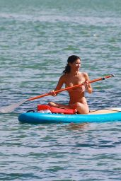Alexandra Rodriguez - Paddle Boards in a Beige Colored Bikini in Miami 12/20/ 2016