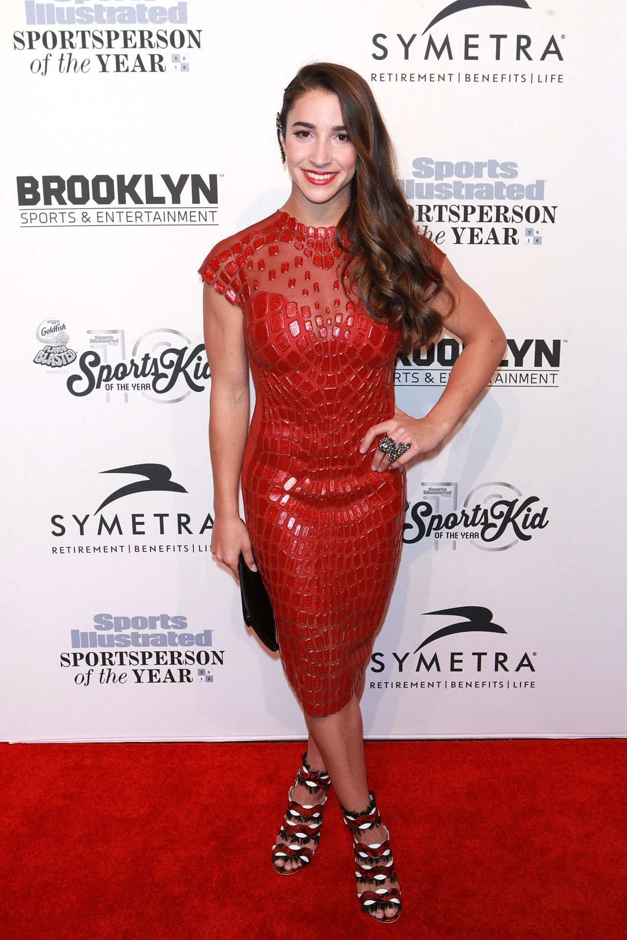 Aly Raisman Sexy Red Dress