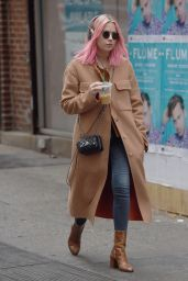 Ashley Benson Sports Pink Hair and a Beige Coat - Listening to Music in NY 12/26/ 2016