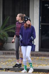 Bella Thorne in Tights - Leaves a Restaurant and Shops at the Psychic Eye in Studio City 12/15/ 2016