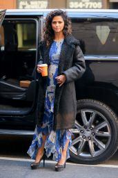 Camila Alves in Shearling Coat - Holding Her Hot Coffee While Leaving the Today Show in NY 12/20/ 2016