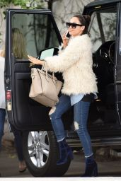 Cara Santana Sporting a White Faux Fur Coat - Christmas Shopping Spree in Hollywood 12/12/ 2016