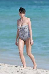 Daisy Lowe in Swimsuit on the Beach in Miami 12/23/ 2016