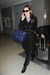 Emmy Rossum Travel Outfit - LAX Airport in Los Angeles 12/7/ 2016