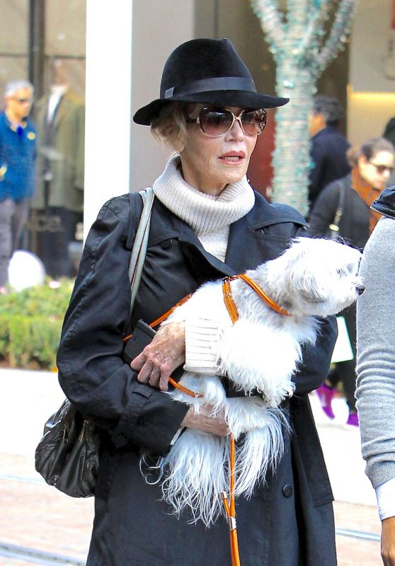 Jane Fonda - Shops With Her Dog at The Grove in Los Angeles 12/24/ 2016