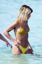 Jessica Woodley in Yellow Bikini on the Beach in Barbados 12/19/ 2016