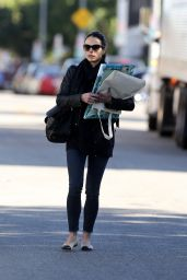 Jordana Brewster - Carries Some of Her Daughters Art to be Custom Framed in Hollywood 12/27/ 2016