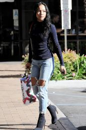 Karrueche Tran in Ripped Jeans - Holiday Shopping in Los Angeles 12/21/ 2016
