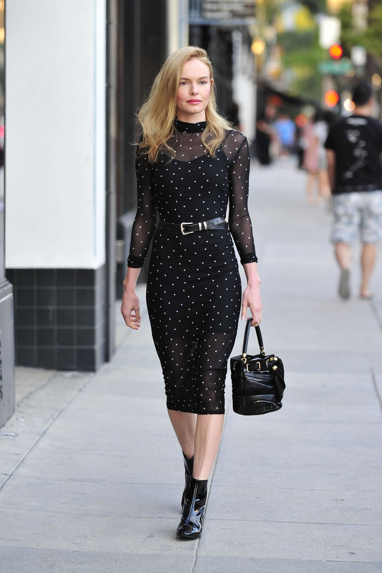 Kate Bosworth In Long Sleeve Midi Dress Out In New
