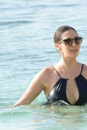 Lauren Silverman in Black Swimsuit in Barbados 12/17/ 2016