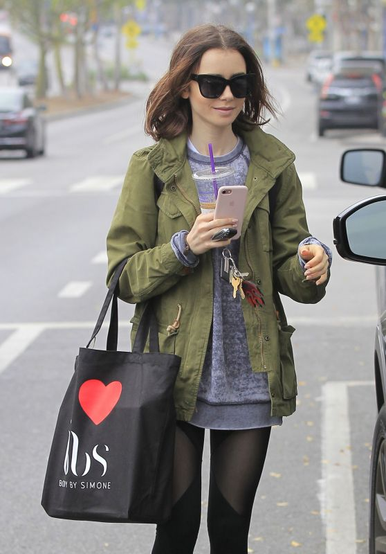 Lily Collins - Leaving the Gym in West Hollywood 12/14/ 2016