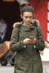 Lily Collins Street Style - Grove in Los Angeles 12/9/ 2016