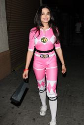 Mara Teigen in Pink Power Ranger Costume - Leaving a Party at the Think Tank Art Gallery in Los Angeles 12/29/ 2016