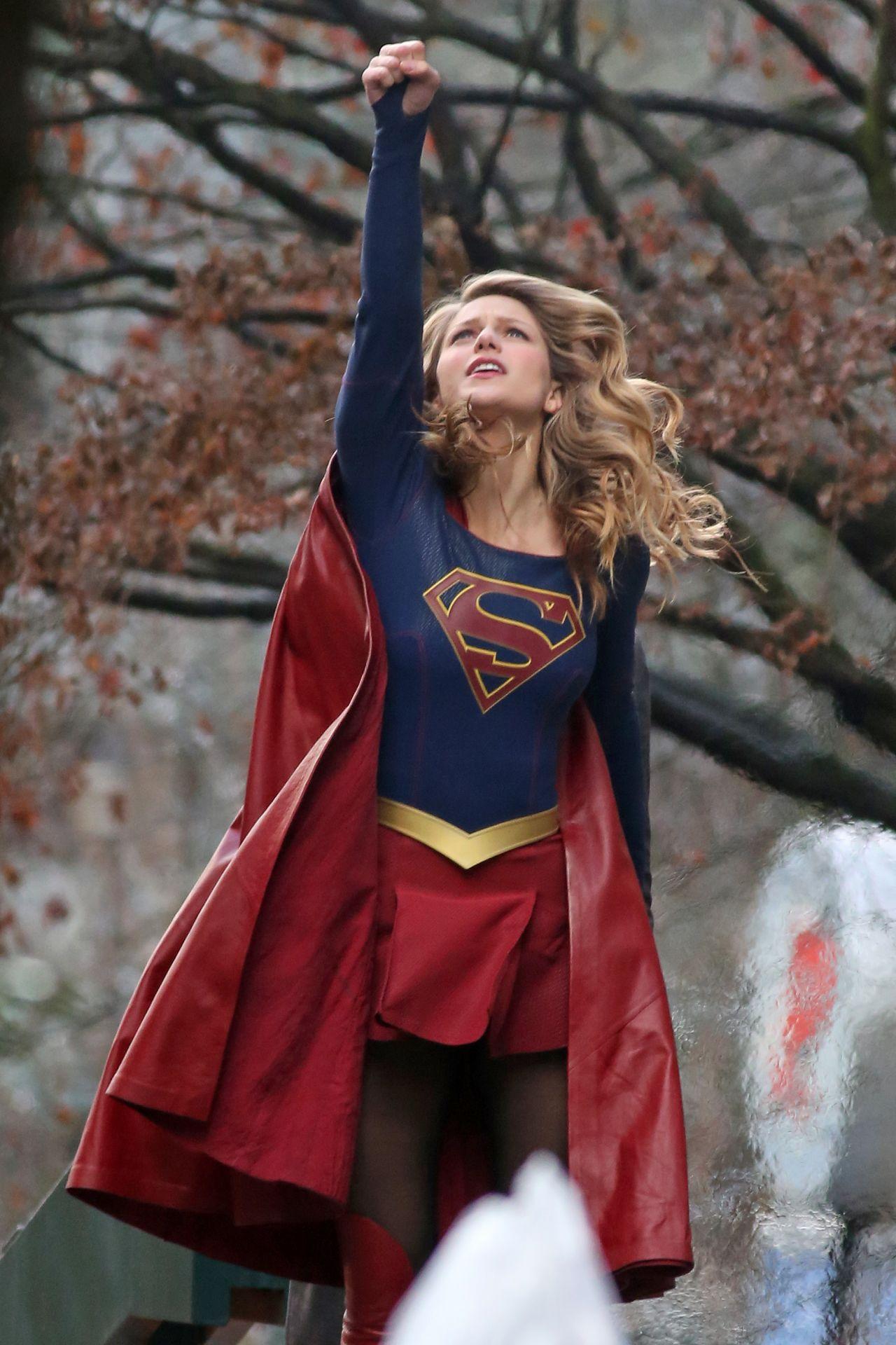 Melissa Benoist Filming A Scene For Supergirl In