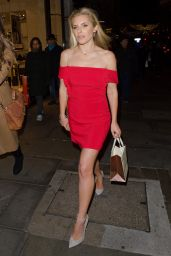 Mollie King in Red Mini Dress - Folli Follie Store Launch in London 12/1/ 2016