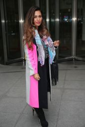 Preeya Kalidas Rocks a Multi-Coloured Coat Outside the BBC Broadcasting House in London 12/24/ 2016