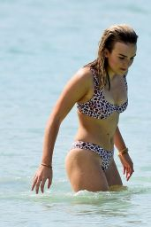 Tallia Storm in Floral Bikini in Barbados, December 2016