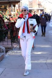 Yolanda Hadid Winter Style - in White While Vacationing in Aspen, Colorado 12/29/ 2016