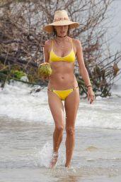 Alessandra Ambrosio in Yellow Bikini on the Beach in Santa Catarina 12/30/ 2016