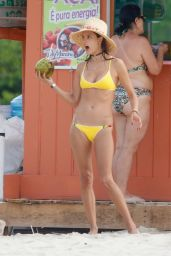 Alessandra Ambrosio in Yellow Bikini on the Beach in Santa Catarina 12/30/ 2016