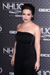Alyssa Milano at the NHL 100 - 2017 NHL All-Star Weekend in LA 1/27/ 2017