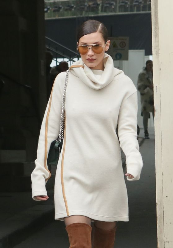 Bella Hadid - Leaving the 2nd Chanel Haute-Couture Fashion Show in Paris 1/24/ 2017
