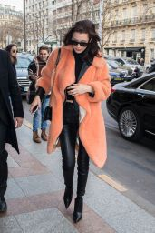 Bella Hadid Style - Arriving at Her Hotel in Paris, France 1/27/ 2017