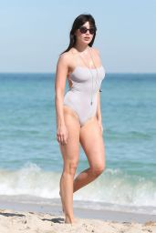 Daisy Lowe in Swimsuit on the Beach in Miami 1/5/ 2017