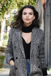 Emily Ratajkowski Looks Stunning in a Gray Coat - Los Angeles, CA 1/24/ 2017