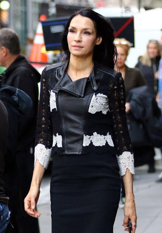Famke Janssen Showed Off Her Thin Figure in a Tight Black Dress - NYC 1/12/ 2017