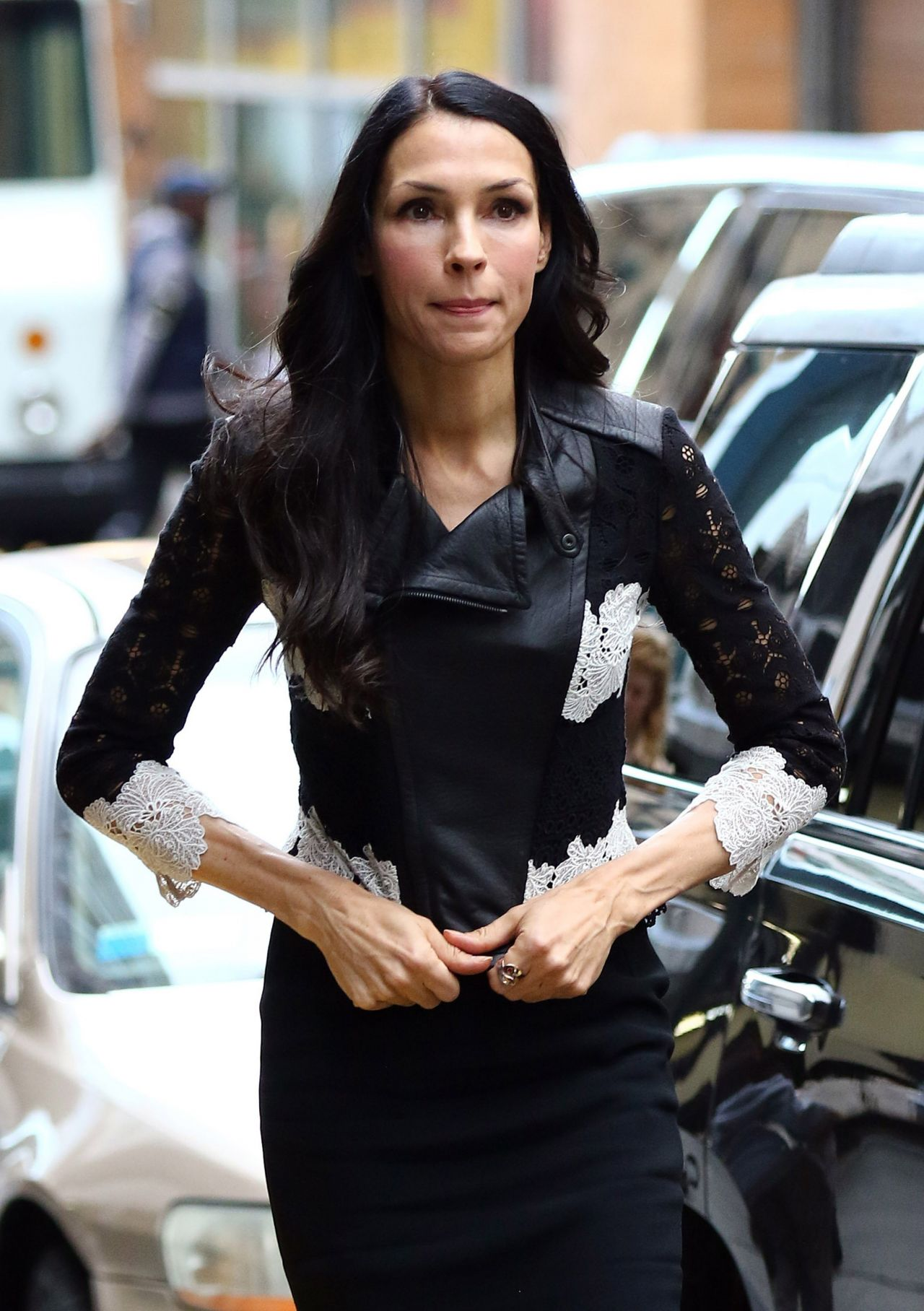 Famke Janssen Showed Off Her Thin Figure in a Tight Black ...