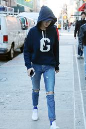 Gigi Hadid in Ripped Jeans - Out in NYC 1/25/ 2017