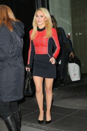 Hayden Panettiere in a Mini Red And Black Dress in NYC 1/5/ 2017
