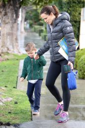 Jennifer Garner - Walking in the Rain With Her Son Samuel - Los Angeles 1/23/ 2017