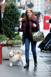 Jessica Chastain - Walking Her Dog in NYC 1/2/ 2017