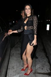 Jessica Lowndes Showing Off Her Fit Figure in a Leggy Black Dress at Catch Restaurant in LA 1/5/ 2017