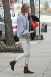 Karlie Kloss Wearing Beige Pants and a Grey Sweatshirt - Out in NYC, January 2017