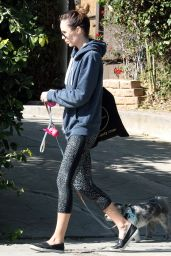 Laura Vandervoort in Leggings - Walking Her Dog in West Hollywood 1/26/ 2017