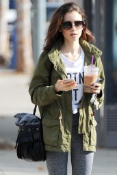 Lily Collins - Leaving the Gym in Los Angeles 1/16/ 2017