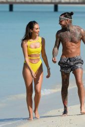 Megan McKenna in Yellow Swimsuit - Enjoying Her Day on a Beach in Dubai 1/7/ 2017