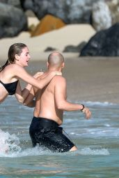 Megan Williams in a Black Bikini With Boyfriend - Saint-Barth, France 12/30/ 2016