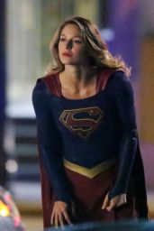 Melissa Benoist - On the Set of Supergirl in Vancouver 1/6/ 2017
