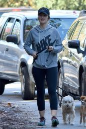 Minka Kelly - Walking Her Dogs in Los Angeles 1/1/ 2017