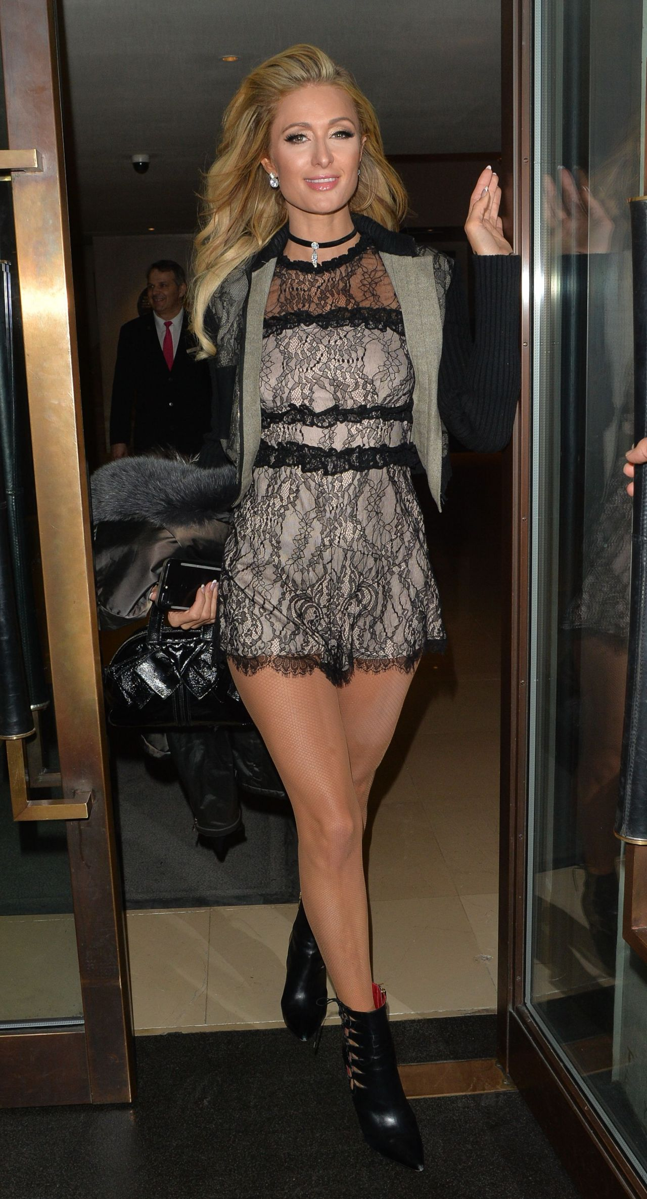 Paris Hilton sexy lace dress and heels
