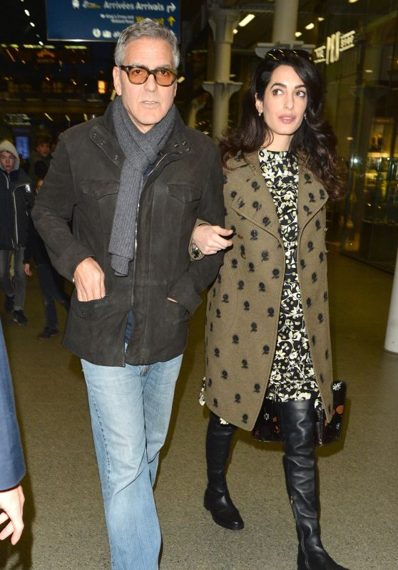 Amal & George Clooney at St Pancras Eurostar in London 2/26/ 2017