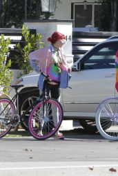 Bella & Dani Thorne - Going for a Bike Ride With a Friend in Los Angeles 2/12/ 2017